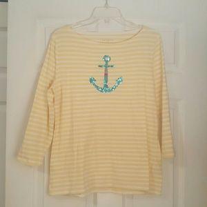 Talbots Yellow Striped Anchor Tee Shirt Sz M